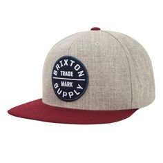 The Heather Grey and Burgundy Brixton Oath III Snapback Hat is a six panel  cut and sew acrylic wool cap with custom embroidered patch. 052132dd74d7
