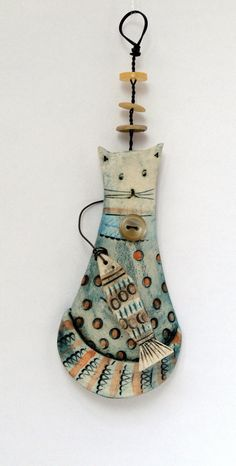 Delightful Hang Up Puddy & Fish by ShirleyVauvelle on Etsy