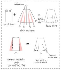 How to modify a pencil skirt pattern to make a flared skirt, kinda confusing but I still wanna try it Sewing Blogs, Sewing Hacks, Sewing Tutorials, Sewing Crafts, Sewing Projects, Sewing Patterns, Sewing Tips, Techniques Couture, Sewing Techniques