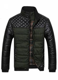 Green Plaid Design Casual Winter Jacket