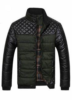 Green Plaid Design Casual Winter Jacket