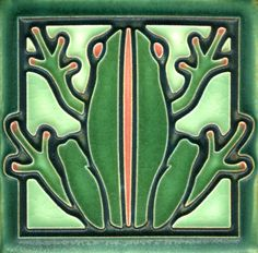 4x4 Frog in Green Salmon by Motawi Tileworks