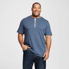 Men's Big & Tall Short Sleeve Henley Shirt Blue 4XB Tall - Merona