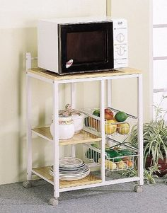 White  Natural Finish Kitchen Microwave Cart wCasters -- For more information, visit image link.Note:It is affiliate link to Amazon.