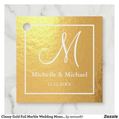 Classy Gold Foil Marble Wedding Monogram Foil Favor Tags Party Favor Tags, Party Favors, Thing 1, Monogram Wedding, Sticker Shop, Accent Colors, Gold Foil, Paper Texture, Wedding Favors