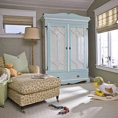 To add a pop of color to a neutral room, paint a piece of furniture.