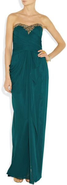 Notte By Marchesa Embellished Draped SilkChiffon Gown in Green (teal) | Lyst