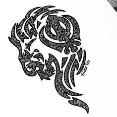 The fabulous Trisha Vaz created this wonderful artwork with the Sikh Khanda drawn into the design. M Tattoos, Sleeve Tattoos, Sikhism Religion, Cool Shoulder Tattoos, Symbol Drawing, Punjabi Culture, Alphabet Symbols, African Art Paintings, Tatoo