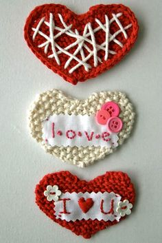 These cute knit hearts are perfect for your Valentine's Day celebration.  Imagine how perfect they'll look paired with candy.