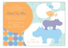 Another baby shower is coming up and it is your job to plan the event. Baby animal themed baby showers are always a safe and easy option for the party theme. Check out these cute boy baby shower invitations. The Blue Hippos Invitation is available on Polk Baby Shower Invitations For Boys, Bridal Shower Invitations, Baby Shower Themes, Baby Boy Shower, Shower Ideas, Baby Rhino, Stationery Store, Baby Animals, Baby Announcements