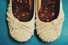 "This bride DIYed these bridal flats. She hand placed each pearl and bead on these shoes! From Amanda & Keith's DIY ""Woodland"" Maryland Fall Wedding"