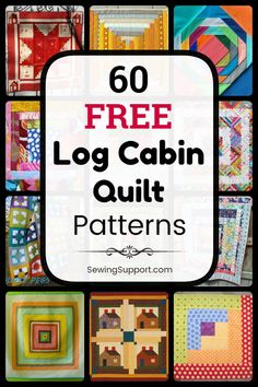 Free Quilt Patterns for Log Cabin Quilts, including blocks and full quilt tutorials. Many patterns great for use with jelly rolls and for scrappy quilts. Traditional and modern design ideas. #LogCabin #Log #Cabin #Pattern #Quilt #Quilting #Block