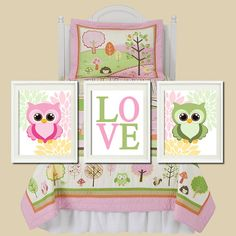 Floral Owl Nursery Artwork Pink Yellow Green by LovelyFaceDesigns, $29.00