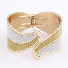 Golden and Silver Curved Dull Polished Leaves Design Bangle Bangle