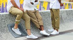 White + khaki + white