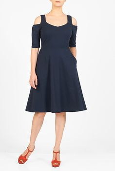 I <3 this Cold shoulder cotton knit dress from eShakti