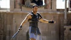 """Are you not entertained?!"", screams Russell Crowe as Maximus Decimus Meridius in...  Gladiator (2000)"