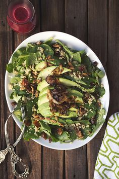 Baby Kale and Quinoa Salad comes equipped with Dates, Avocado, Caramelized Shallots and a gorgeous Citrus Hibiscus Vinaigrette // Tasty Yummies   {gluten-free and vegan}