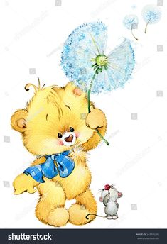 Teddy bear with flower and little mouse. background for greetings cards. watercolor illustration