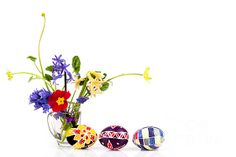 Spring Flowers And Easter Eggs Greeting Card by Ezeepics