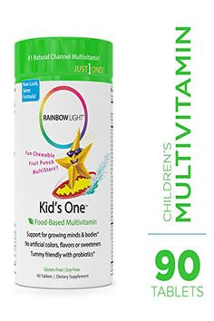 Rainbow Light - Kids One Food-Based Multivitamin - Chewable Probiotic, Vitamin, and Mineral Supplement; Soy and Gluten-Free; Supports Brain, Bone, Heart, Eye and Immune Health in Kids - 90 Tablets Children's Vitamins, Vitamin B Complex, Rainbow Light, Healthy Brain, Fruit Punch, Meals For One, Gourmet Recipes, Mineral, Gluten Free