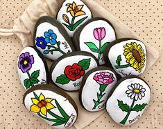 Flowers Story Stones, Gardening Story Starters, Springtime Flowers Painted Rocks, Story Rocks, Garden Flowers Stones, Story Stones