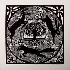 FOREST MANDALA original relief linocut by NicolaBarsaleau on Etsy, $65.00