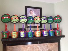 Leonardo's 5th Birthday! Finally finished :) Ninja Turtles Centerpieces