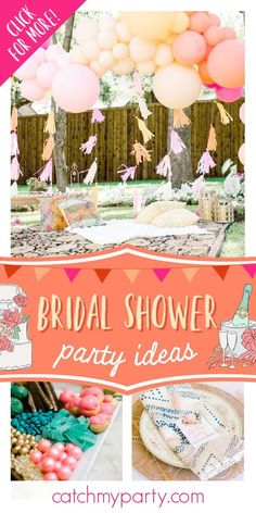 Feast your eyes on this gorgeous boho bridal shower! The party decorations will blow your mind! See more party ideas and share yours at CatchMyParty.com  #catchmyparty #partyideas #boho #bohoparty #bridalshower #bohobridalshower Chic Bridal Showers, Unique Bridal Shower, Bridal Shower Cakes, Bridal Shower Party, Party Activities, Bridal Shower Invitations, Shower Ideas, Bachelorette Ideas, Party Ideas