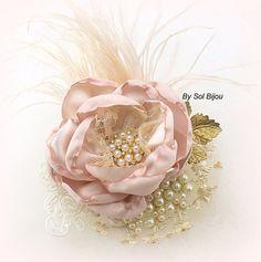 Bridal Hair Fascinator Bridal Hair Clip in Rose Blush by SolBijou