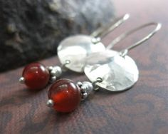 Carnelian and Hammered Sterling Silver Domed Dangle by holmescraft, $42.00