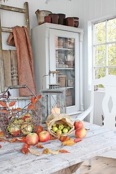 Fall decor as easy as apples and paper bags.