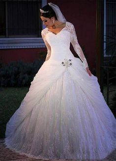 Wedding Dress Ball Gown Lace V-neck Ball Gown Long Sleeve Wedding Dress With Lace Appliques Wedding Dress Tea Length, Lace Mermaid Wedding Dress, Mermaid Evening Dresses, Long Sleeve Wedding, Lace Dress, Tulle Lace, Lace Wedding, Dress Wedding, Ball Gown Wedding Dresses