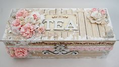 This tea box was made with the Wintertime in Swedish Lapland. I wanted to show you that these papers couldn't only be used for wintery and christmassy projects, but they are also perfect for … Shabby Chic Crafts, Vintage Crafts, Vintage Box, Vintage Paper, Shabby Boxes, Altered Cigar Boxes, Craft Projects, Projects To Try, Decoupage Box