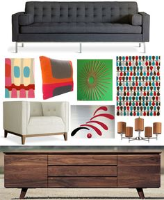 Mad Men-inspired, new pieces from 2modern.com:  Gus* – Spencer Sofa .... emma at home – Fire Island 7 Giclee print .... Wallter – Flop Pillow... Wallter – Starburst Wall Application .... Gandia Blasco – Lluvia Rug .... Gus* – Atwood Chair .... Flensted Mobiles – Flowing Rhythm Red .... Lights Up! – Walker 5 Arm Chandelier Clip .... Eastvold Furniture – Alden Credenza ... May 2012