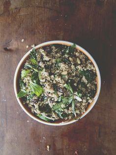 Kale, Quinoa, raisins, nut, and mint salad