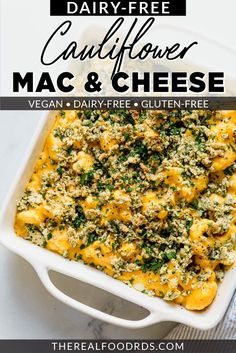 When you get hit with a mac and cheese craving, reach for this Vegan Cauliflower Mac and Cheese recipe!  You'll be amazed at how ridiculously creamy and delicious this cauliflower mac and cheese is. And best of all, it's vegan and Paleo friendly!  || The Real Food Dietitians || Vegan Cauliflower Mac And Cheese Recipe, Vegan Mac And Cheese, Breakfast Casserole, Breakfast Recipes, Dinner Recipes, Appetizer Recipes, Dinner Ideas, Dairy Free Recipes, Vegan Recipes