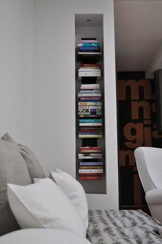 Recessed shelf by Civico Quattro (photo from the designers website) Bookshelves, Bookcase, Recessed Shelves, New Homes, Interior Design, Storage, Room, House, Ideas Para