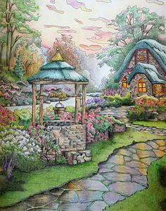 """Thomas Kinkade Coloring Book Fresh Learning From the """"painter Of Light"""" Color Art Cat Coloring Page, Coloring Book Pages, Thomas Kinkade, Art Thomas, Landscape Drawings, Color Pencil Art, Colorful Drawings, Color Inspiration, Colors"""