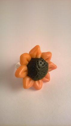 anello fimo fiore girasole di madreperlagioielli su Etsy