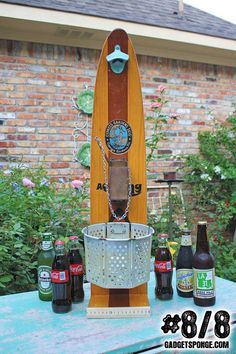 No. 8 of 8 - Vintage Wooden Water Skis Beer & Soda Coke Bottle Opener Station of Recycled Found Object Furniture via Etsy