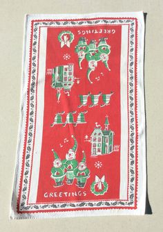 Vintage Christmas Towel Greetings from the by unclebunkstrunk