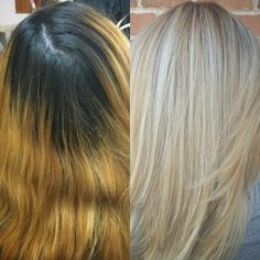 Jenna Faicco of Salon Brielle (@ SalonBrielle) in Holbrook, NY, says that Hair painting and balayage has brought my color game to an exciting new level. She is clearly doing something right! Blonde Sombre, Ashy Blonde Hair, Brassy Blonde, Dark Hair, White Hair, Yellow Hair Color, Hair Dye Colors, Blonde Color, Good Hair Day