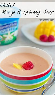 Mango Raspberry Chilled Soup Recipe from - This quick and easy vegetarian soup is a blender soup recipe. Perfect for an appetizer, light lunch, or easy meatless meal. Blender Soup, Blender Recipes, Soup Recipes, Cooking Recipes, Jelly Recipes, Gf Recipes, Quick Recipes, Summer Recipes, Smoothie Recipes