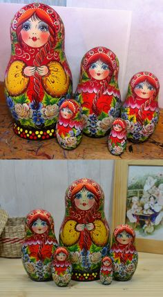 handpainted nesting doll before and after lacquer finish