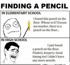 Finding A Pencil In: Elementary School VS. High School - Posted in Funny, Troll comics and LOL Images - Entertain Club