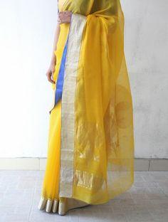 Yellow Chanderi & Zari Marigold Saree