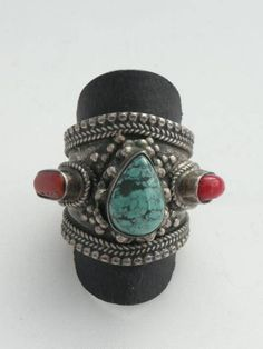 Vintage Nepal Silver Ring with Natural Coral and Turquoise
