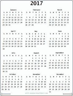 2018 Calendar Printable – 2017 printable calendar   Homemade ...