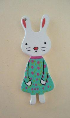 Rabbit wood embellishment craft charm   Artsy_Effects - Craft Supplies on ArtFire